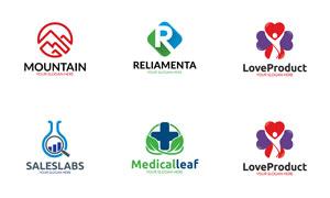 山峰与爱心等元素标志设计矢量素材