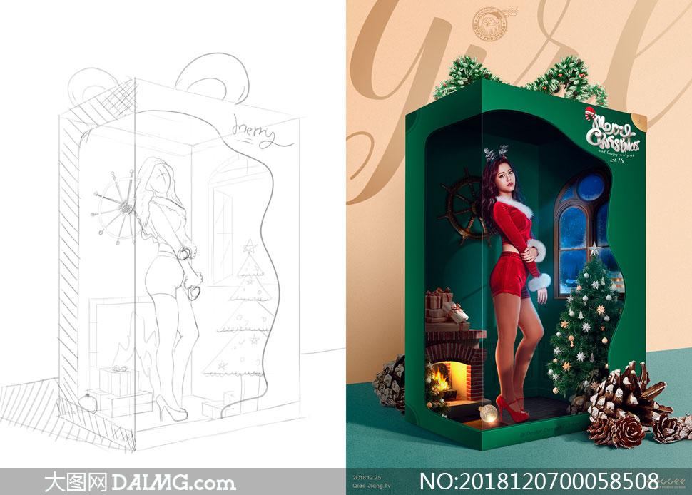 圣诞节主题宣传海报设计PS教程素材