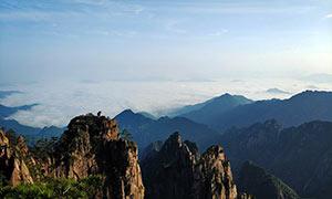 黄山猴子观海美丽景观摄影图片