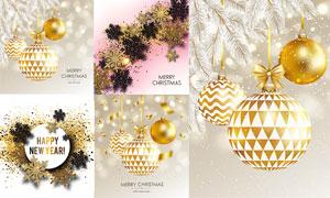 雪花与金色圣诞球创意设计矢量素材