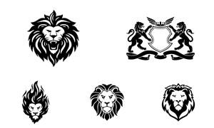 多样式狮子造型标志创意矢量素材V03