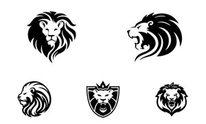 多样式狮子造型标志创意矢量素材V04