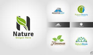 帐篷与绿叶等元素标志创意矢量素材