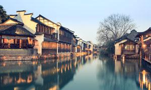 傍晚美丽的乌镇江南水乡摄影图片