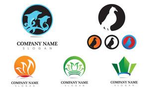 海豚与小鸟等元素标志设计矢量素材