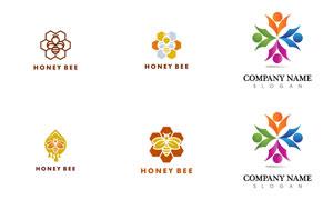 蜜蜂与人形等图形创意标志矢量素材