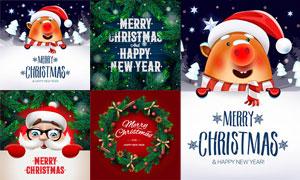 可爱猪与松枝等圣诞节设计矢量素材