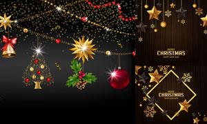 圣诞球五角星与雪花等挂饰矢量素材