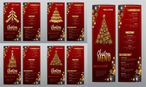 红色背景喜庆圣诞菜单设计矢量素材