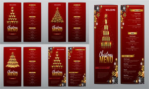 圣诞节酒会喜庆的菜单设计矢量素材