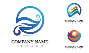 蓝色主色调的标志创意设计矢量素材