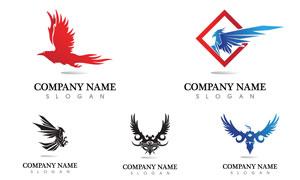 展开翅膀的鹰主题标志设计矢量素材