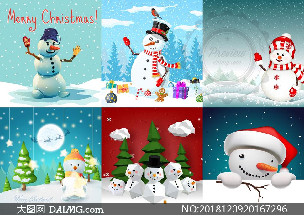 多款圣诞节卡通风雪人设计矢量素材