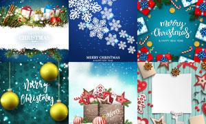 冬日雪花与礼物盒等圣诞节矢量素材