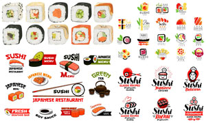 风格不一日本料理寿司设计矢量素材
