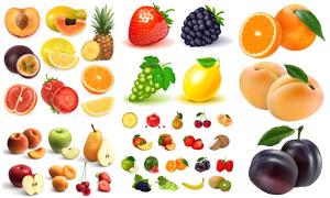 草莓与葡萄芒果等水果主题矢量素材