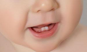 可爱小宝宝的牙齿特写摄影高清图片