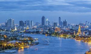 湄公河两岸的曼谷风光摄影高清图片