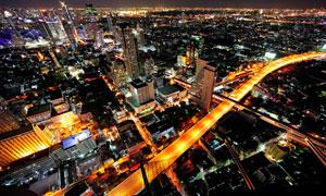 城市繁华风光夜景鸟瞰摄影高清图片