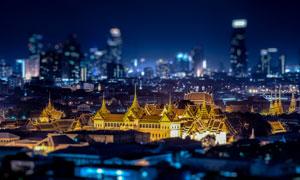 泰国曼谷城市夜景移轴摄影高清图片