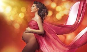 飄逸紅綢孕婦美女人物攝影高清圖片