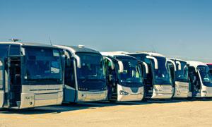 一字排列整齐的大巴车摄影高清图片