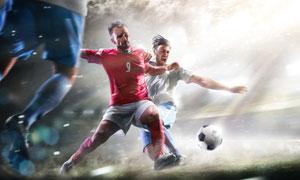 球场上攻防博弈的球员摄影高清图片