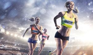 赛场上竞技跑步的人物摄影高清图片