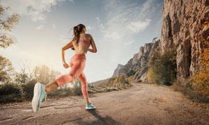 山地环境慢跑美女人物摄影高清图片