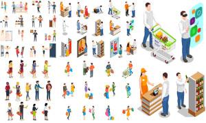 购物场景与购物人物等设计矢量素材
