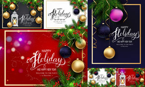 蜡烛与挂球等圣诞主题设计矢量素材