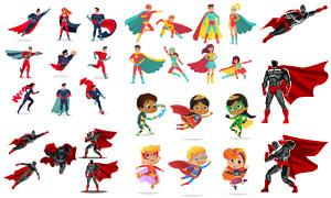 披斗篷的超人装扮卡通角色矢量素材