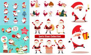 雪人与圣诞老人等卡通设计矢量素材