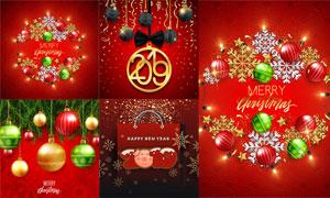 红色喜庆氛围圣诞新年创意矢量素材