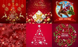 红色背景圣诞海报创意设计矢量素材