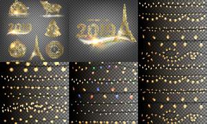 花纹元素与圣诞节小灯创意矢量素材