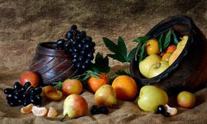 苹果桔子与葡萄等水果特写摄影高清图片