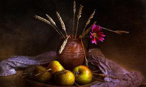 苹果与陶罐里的麦穗等摄影高清图片