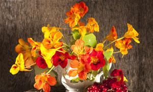 花瓶鲜花与红色的水果特写高清图片