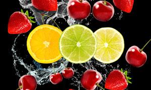 草莓与切开的柠檬橙子摄影高清图片