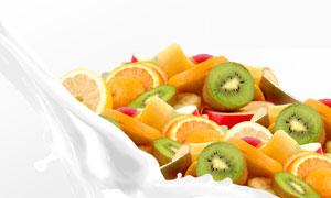 切开的猕猴桃橙子水果摄影高清图片