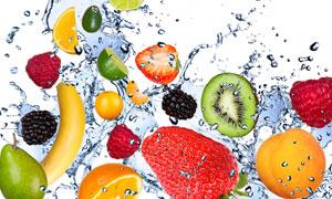 水花带出来的多种水果摄影高清图片