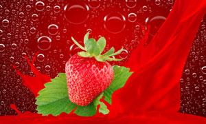 绿叶草莓与大大小小的泡泡高清图片
