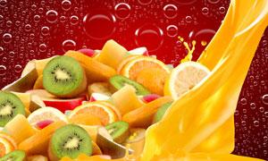 橙汁与切开的各种水果创意高清图片