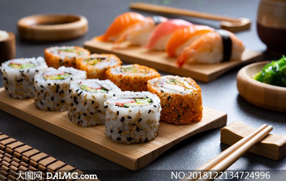 精美制作好的日料寿司摄影高清图片