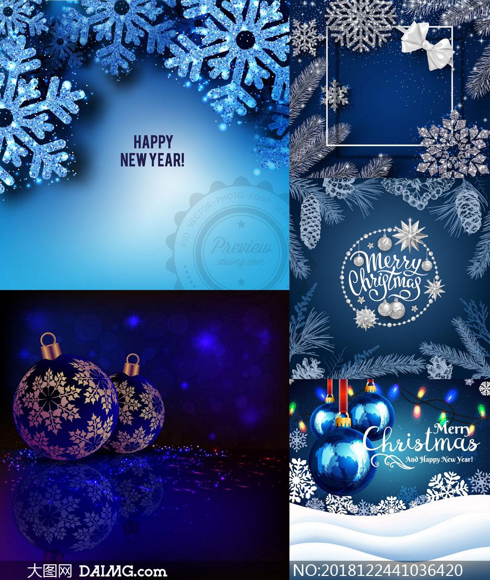 圣诞节挂球与星光雪花创意矢量素材