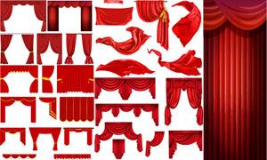 红色幕布与绸子等设计元素矢量素材