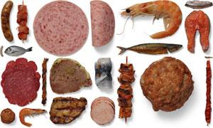 鱼虾烤串美食物品样机元素分层素材