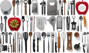 多种厨房用的刀具餐具样机元素素材