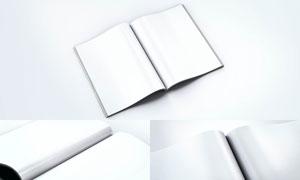 掀开的杂志内页特写效果样机源文件
